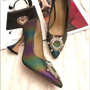 New reflective rainbow heels